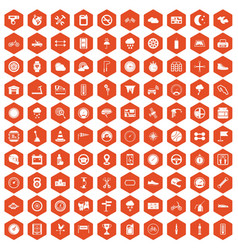 100 motorsport icons hexagon orange vector
