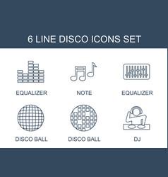 6 disco icons vector