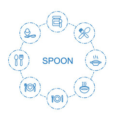 8 spoon icons vector