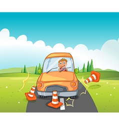 A reckless driver bumping the traffic cones vector