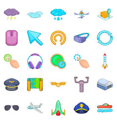 Aeronautical icons set cartoon style vector