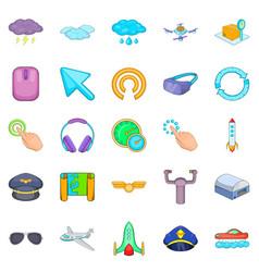 aeronautical icons set cartoon style vector image