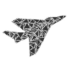 Airplane intercepter mosaic of triangles vector