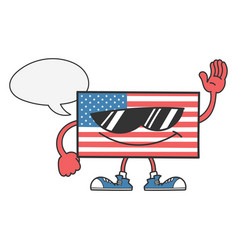 American flag with sunglasses and speech bubble vector