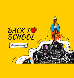 back to school with rocket and doodles background vector image