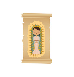 Background with canvas of virgin of guadalupe vector