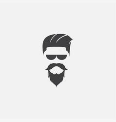 Barber man with masculine hair and beard logo vector