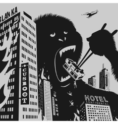 Big Gorilla destroys City vector image