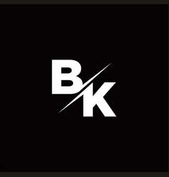 Bk logo letter monogram slash with modern logo vector