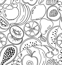 Black and white doodle fruit seamless pattern vector image