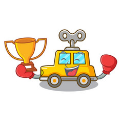 Boxing winner clockwork toy car isolated on mascot vector