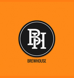 Brew house logo design beer label concept b and vector
