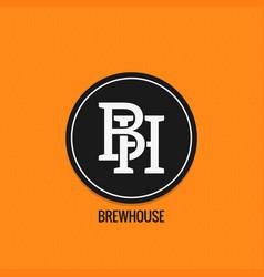 Brew house logo design beer label concept b vector