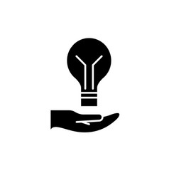 bright idea black icon sign on isolated vector image