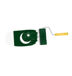 brush stroke with pakistan national flag isolated vector image