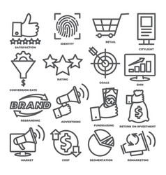 business management line icons marketing and cost vector image