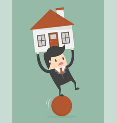 businessman balancing on ball with house on vector image