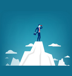 Businessman standing on top of the mountain vector