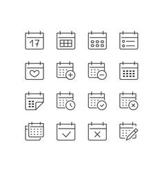 Calendar thin line icon minimal vector