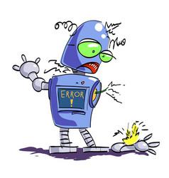 Cartoon image of broken robot vector