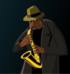 Cartoon jazzman playing on a saxophone vector