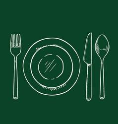 chalk sketch dining set - fork knife spoon vector image