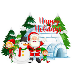 Christmas theme with santa and snowman igloo vector