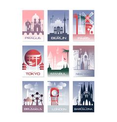 City cards set landscape template of flyer vector