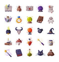collection occult objects for mystic rituals vector image