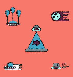 Collection of icons and aliens and planets vector
