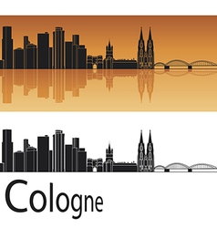 cologne skyline in orange background vector image
