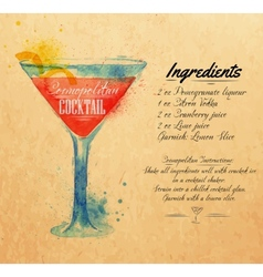 Cosmopolitan cocktails watercolor kraft vector