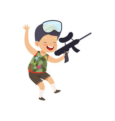 Cute happy little boy playing paintball with gun vector