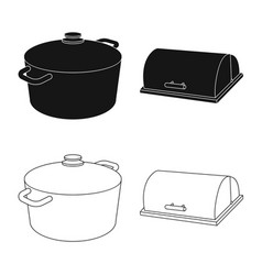 Design of kitchen and cook icon set of vector