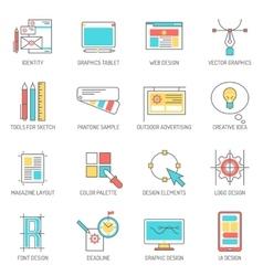 Designer icons line set vector