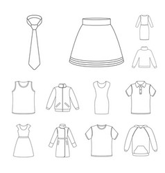 different kinds of clothes outline icons in set vector image