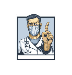 Doctor with finger gesture showing attention vector