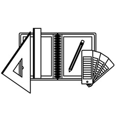 drawing tools and notebook in black contour vector image