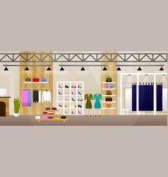 fashion shop interior clothes store banner vector image