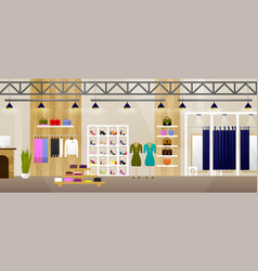 Fashion shop interior clothes store banner with vector