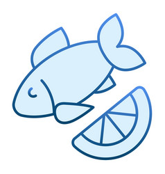 fish and lemon flat icon cuisine blue icons in vector image
