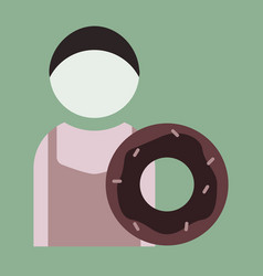 Flat icon cook donut vector