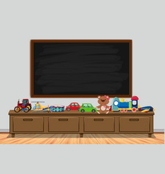 Frame design with board and toys vector