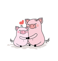 Funny pig with baby piggyadorable animal family vector