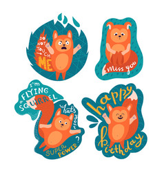 Funny set with flying squirrel and lettering vector