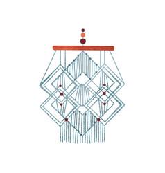 Geometric macrame wall hanging made cotton cord vector