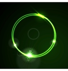 Glow green neon ring shiny template design vector image