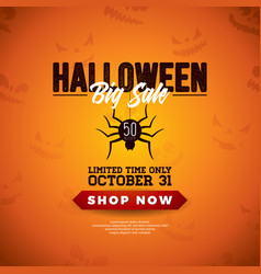 halloween sale with spider and vector image