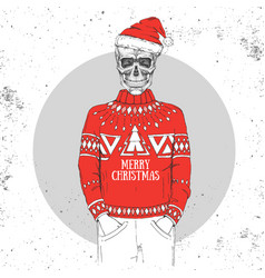 Hand drawing hipster skull with new year hat vector