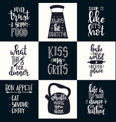 hand drawn typography poster set conceptual vector image